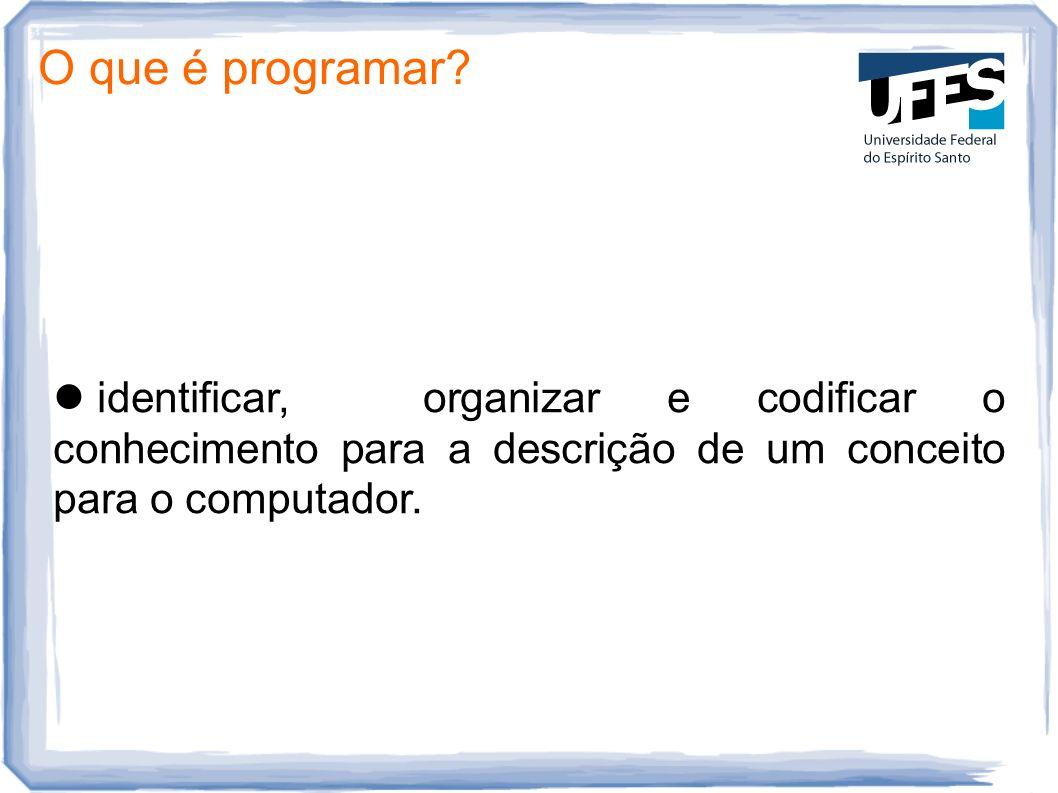 O que é programar? identificar, organizar e codificar o conhecimento para a descrição de um conceito para o computador.