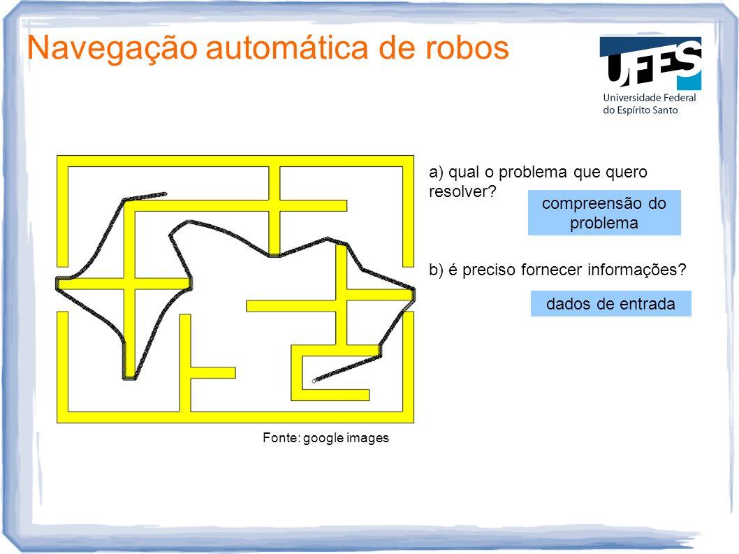 Fonte: google images Navegação automática de robos a) qual o problema que quero resolver? b) é preciso fornecer informações? compreensão do problema d
