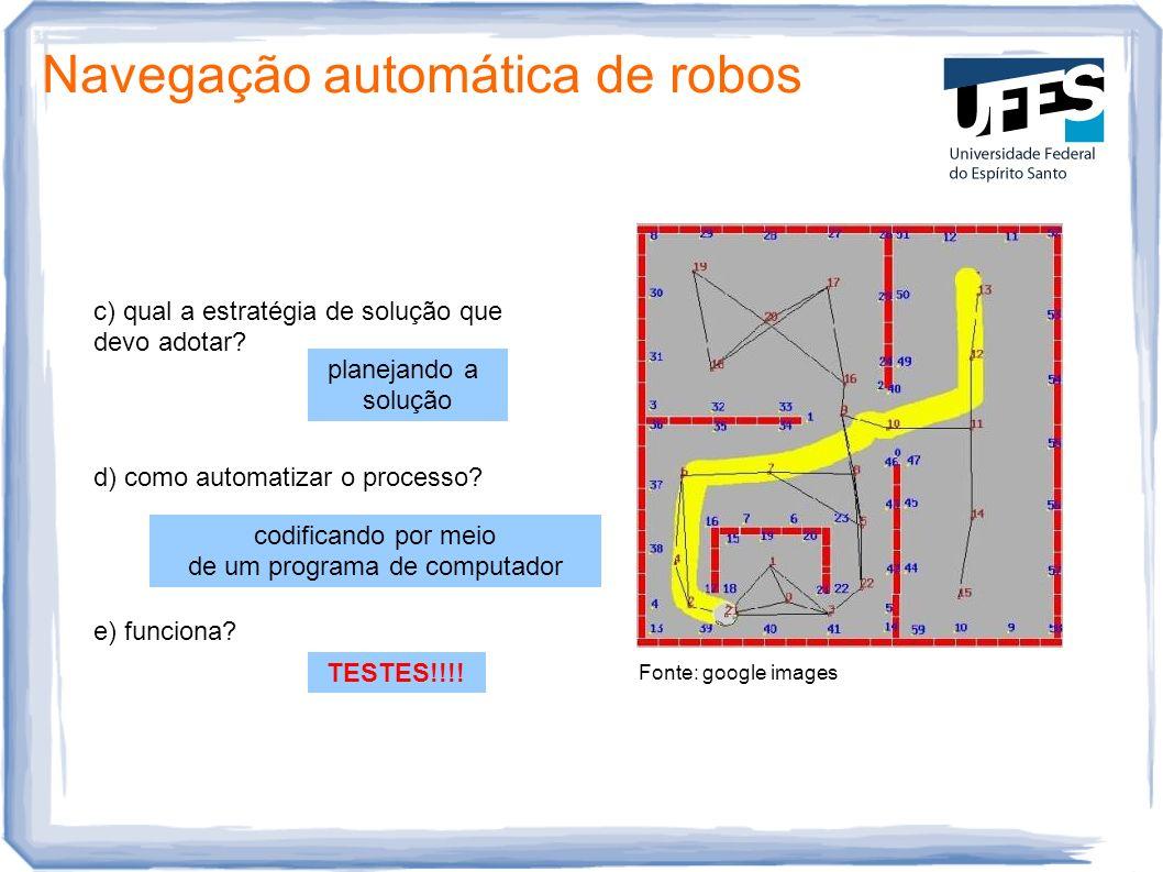 Fonte: google images Navegação automática de robos c) qual a estratégia de solução que devo adotar? planejando a solução d) como automatizar o process