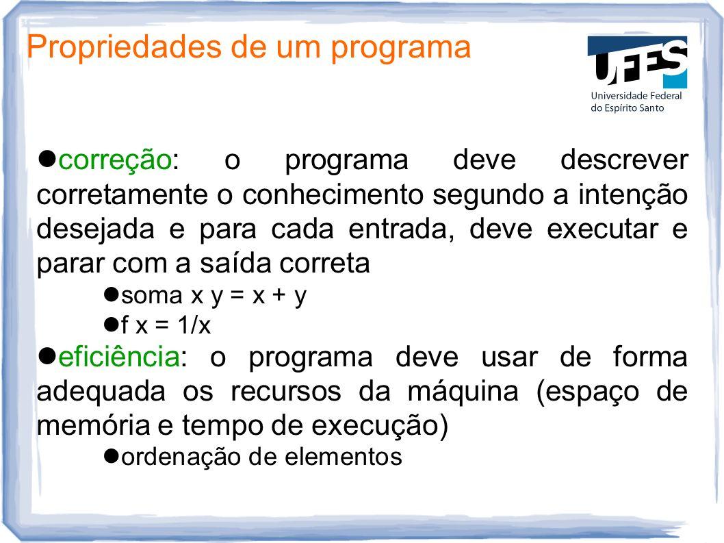 Propriedades de um programa correção: o programa deve descrever corretamente o conhecimento segundo a intenção desejada e para cada entrada, deve exec