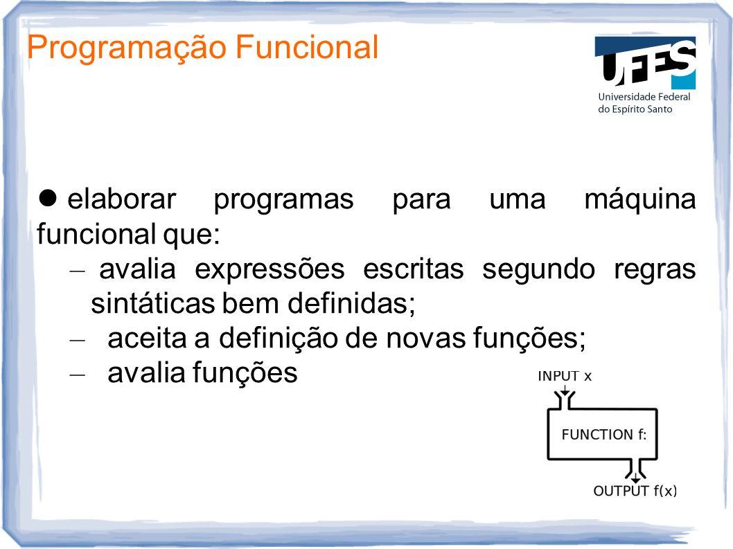 Programação Funcional elaborar programas para uma máquina funcional que: – avalia expressões escritas segundo regras sintáticas bem definidas; – aceit