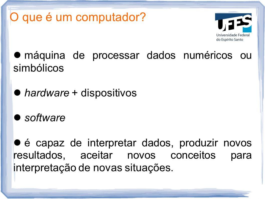 O que é um computador? máquina de processar dados numéricos ou simbólicos hardware + dispositivos software é capaz de interpretar dados, produzir novo