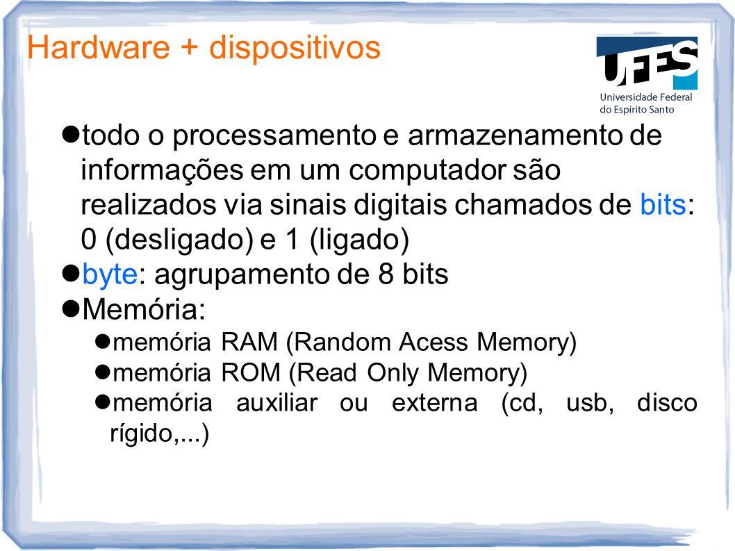 Hardware + dispositivos todo o processamento e armazenamento de informações em um computador são realizados via sinais digitais chamados de bits: 0 (d