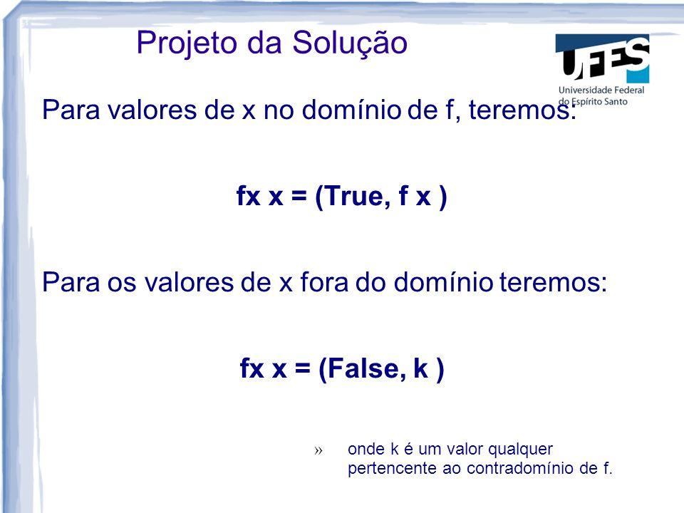 Para valores de x no domínio de f, teremos: fx x = (True, f x ) Para os valores de x fora do domínio teremos: fx x = (False, k ) » onde k é um valor qualquer pertencente ao contradomínio de f.