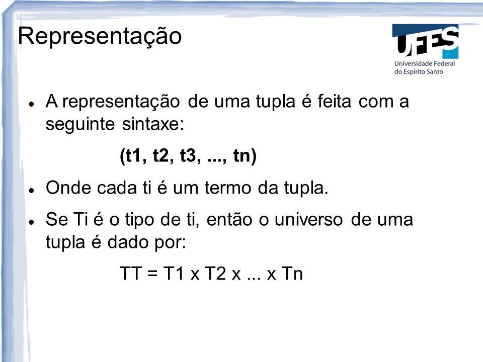 Representação A representação de uma tupla é feita com a seguinte sintaxe: (t1, t2, t3,..., tn) Onde cada ti é um termo da tupla.