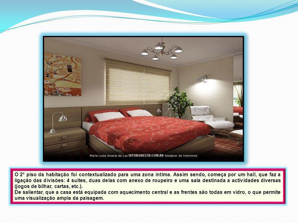 O 2º piso da habitação foi contextualizado para uma zona íntima. Assim sendo, começa por um hall, que faz a ligação das divisões: 4 suites, duas delas