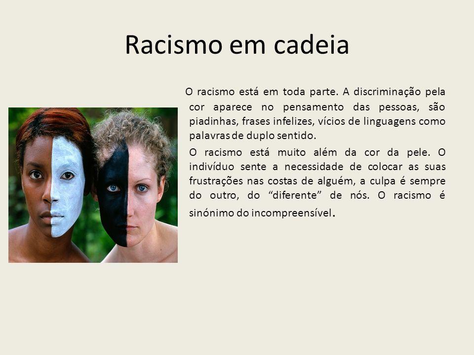 Racismo em cadeia O racismo está em toda parte. A discriminação pela cor aparece no pensamento das pessoas, são piadinhas, frases infelizes, vícios de
