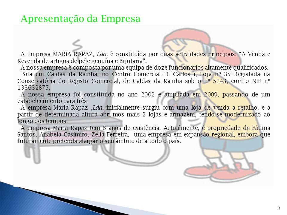 Apresentação da Empresa A Empresa MARIA RAPAZ, Lda. é constituída por duas actividades principais: A Venda e Revenda de artigos de pele genuína e Biju