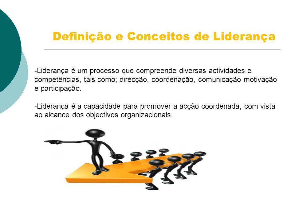Definição e Conceitos de Liderança -Liderança é um processo que compreende diversas actividades e competências, tais como; direcção, coordenação, comu