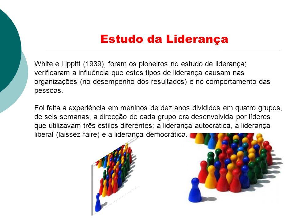 Estudo da Liderança White e Lippitt (1939), foram os pioneiros no estudo de liderança; verificaram a influência que estes tipos de liderança causam na