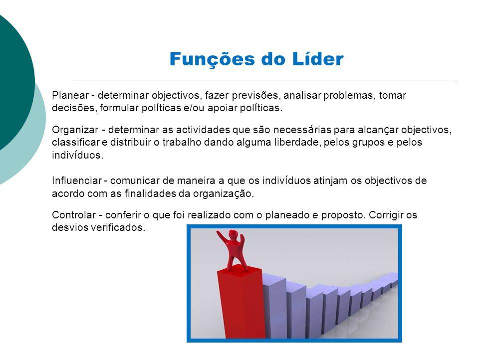 Funções do Líder Planear - determinar objectivos, fazer previsões, analisar problemas, tomar decisões, formular pol í ticas e/ou apoiar pol í ticas. O