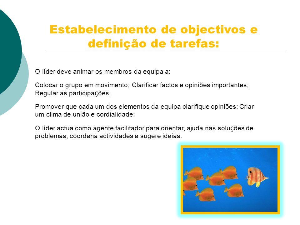 Estabelecimento de objectivos e definição de tarefas: O l í der deve animar os membros da equipa a: Colocar o grupo em movimento; Clarificar factos e