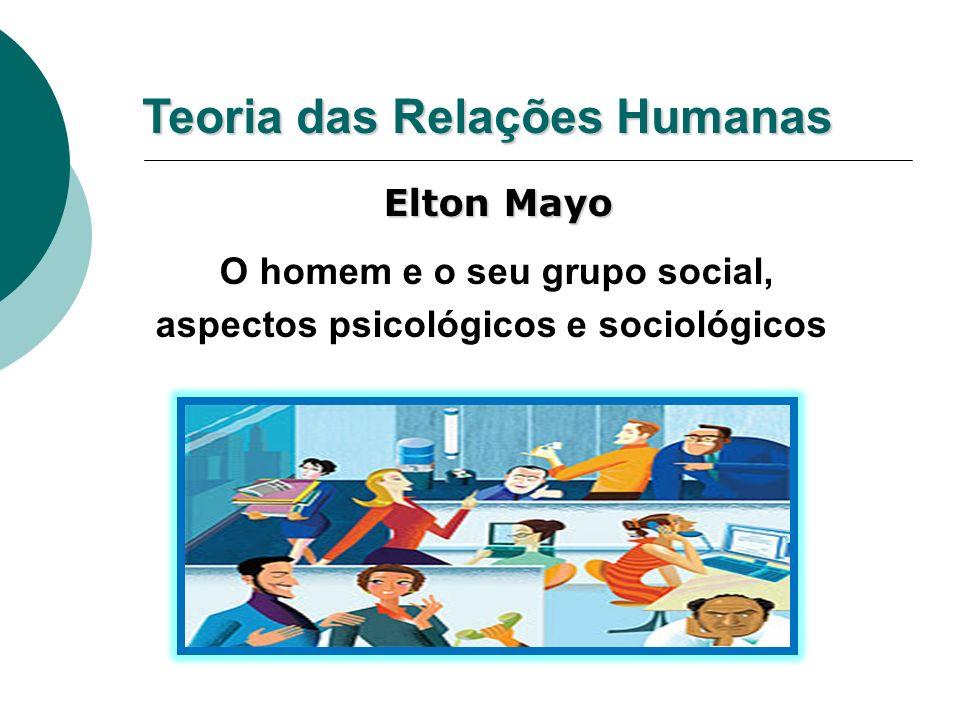 Teoria das Relações Humanas Elton Mayo Elton Mayo O homem e o seu grupo social, aspectos psicológicos e sociológicos