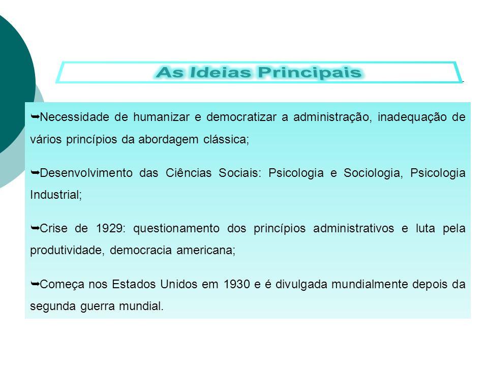 Necessidade de humanizar e democratizar a administração, inadequação de vários princípios da abordagem clássica; Desenvolvimento das Ciências Sociais:
