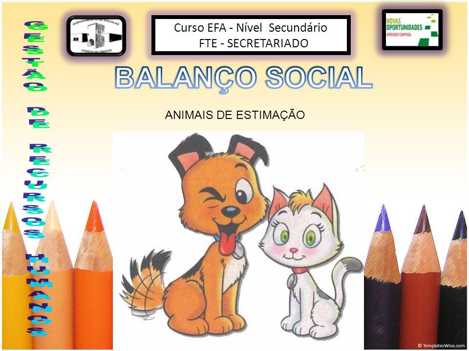 Curso EFA - Nível Secundário FTE - SECRETARIADO ANIMAIS DE ESTIMAÇÃO