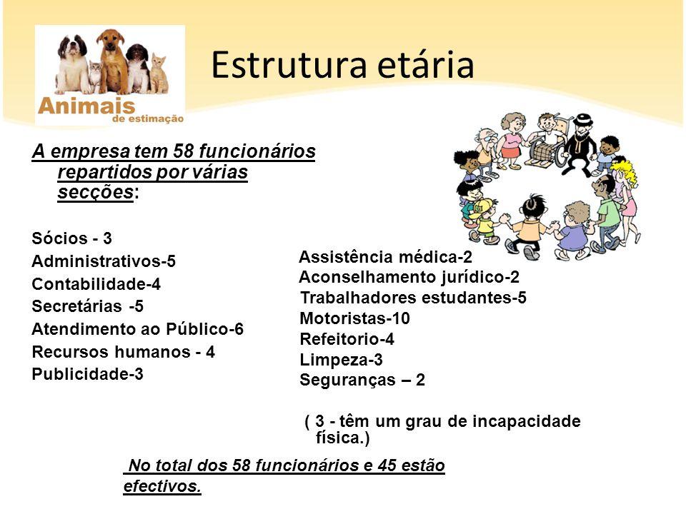 Estrutura etária A empresa tem 58 funcionários repartidos por várias secções: Sócios - 3 Administrativos-5 Contabilidade-4 Secretárias -5 Atendimento