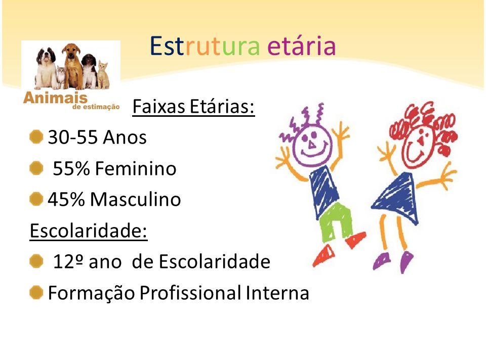Estrutura etária Faixas Etárias: 30-55 Anos 55% Feminino 45% Masculino Escolaridade: 12º ano de Escolaridade Formação Profissional Interna
