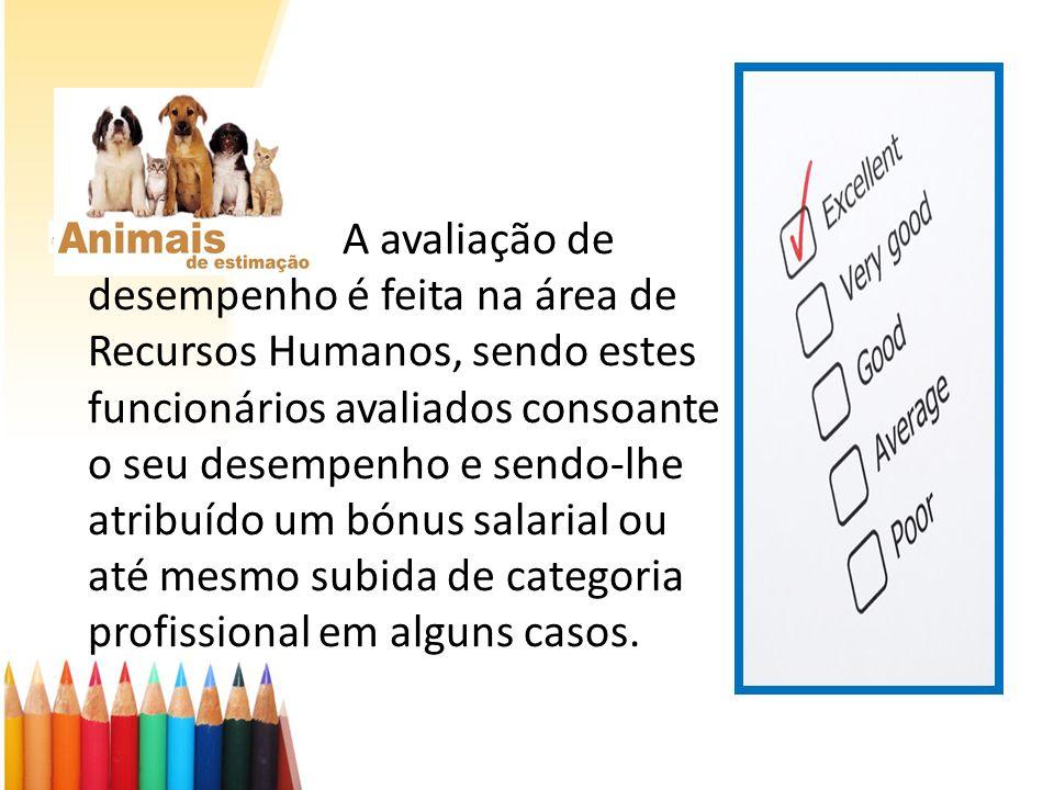 A avaliação de desempenho é feita na área de Recursos Humanos, sendo estes funcionários avaliados consoante o seu desempenho e sendo-lhe atribuído um
