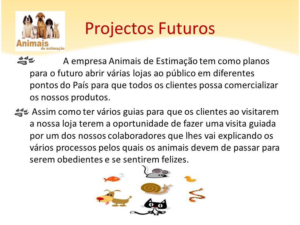 A empresa Animais de Estimação tem como planos para o futuro abrir várias lojas ao público em diferentes pontos do País para que todos os clientes pos