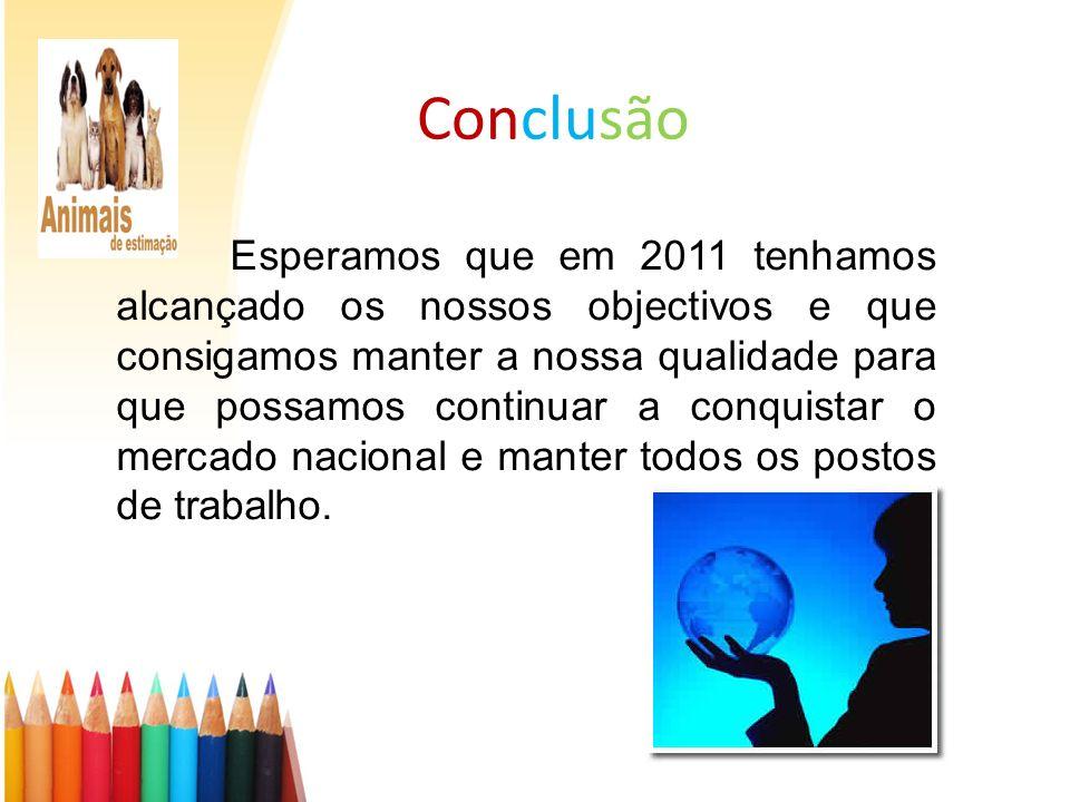 Conclusão Esperamos que em 2011 tenhamos alcançado os nossos objectivos e que consigamos manter a nossa qualidade para que possamos continuar a conqui