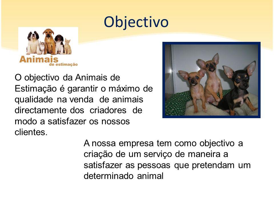 Objectivo A nossa empresa tem como objectivo a criação de um serviço de maneira a satisfazer as pessoas que pretendam um determinado animal O objectiv