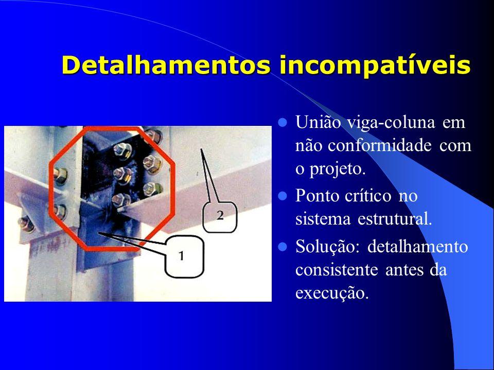 Detalhamentos incompatíveis União viga-coluna em não conformidade com o projeto. Ponto crítico no sistema estrutural. Solução: detalhamento consistent