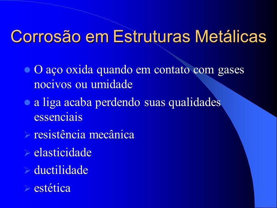 Corrosão em Estruturas Metálicas O aço oxida quando em contato com gases nocivos ou umidade a liga acaba perdendo suas qualidades essenciais resistênc