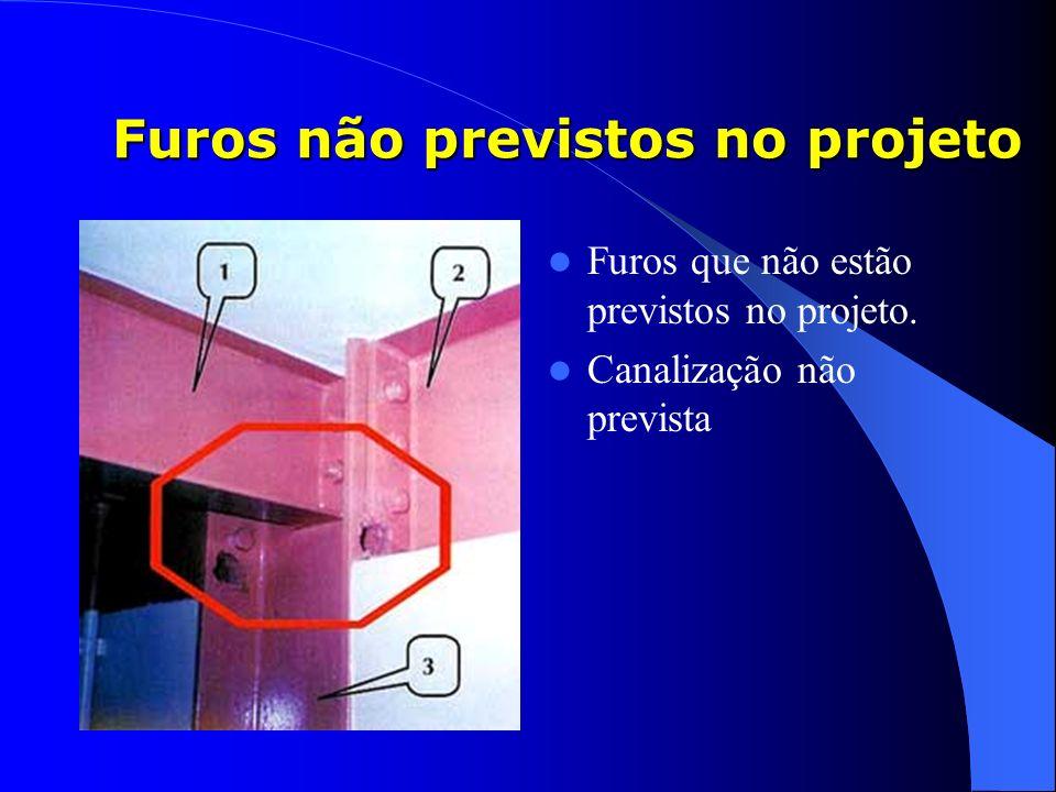 Furos não previstos no projeto Furos que não estão previstos no projeto. Canalização não prevista