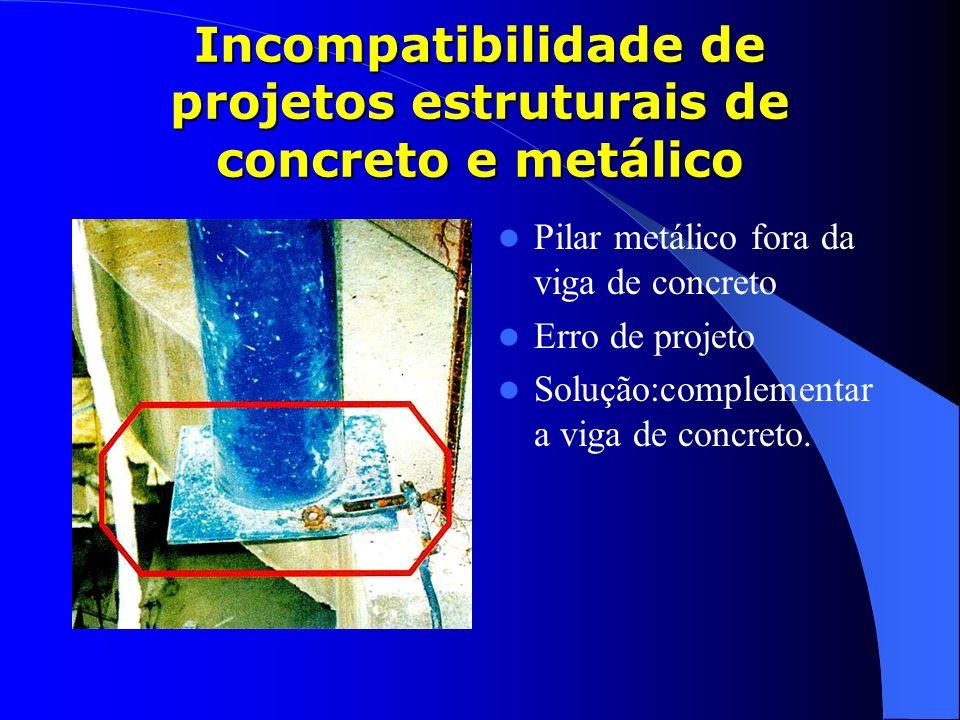 Incompatibilidade de projetos estruturais de concreto e metálico Pilar metálico fora da viga de concreto Erro de projeto Solução:complementar a viga d