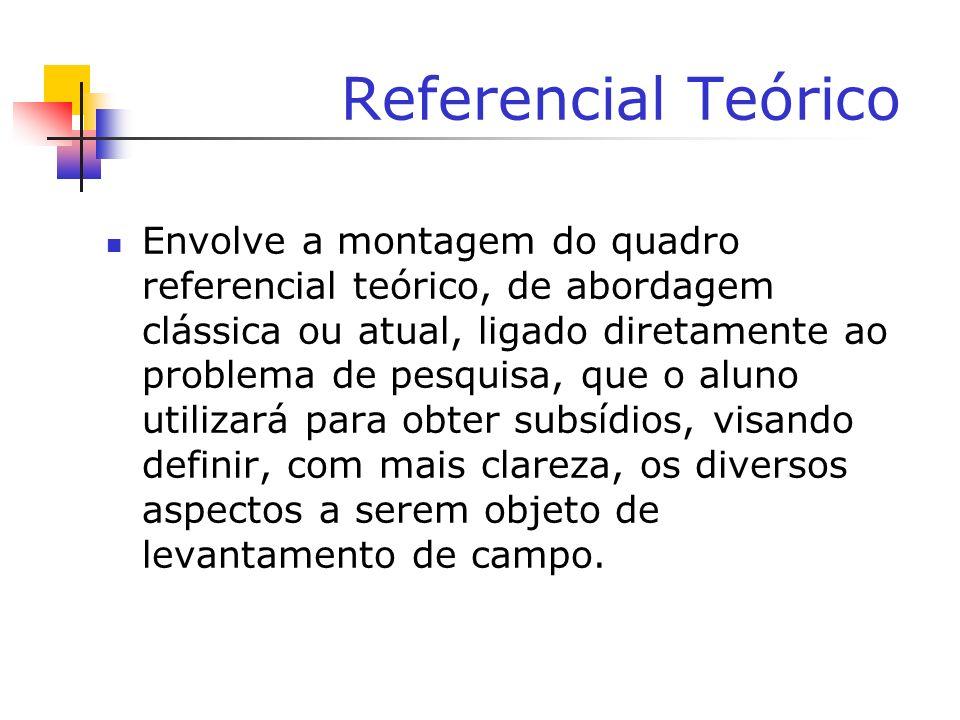 Referencial Teórico Envolve a montagem do quadro referencial teórico, de abordagem clássica ou atual, ligado diretamente ao problema de pesquisa, que