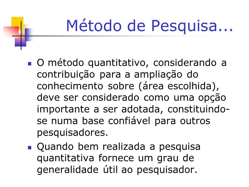 Método de Pesquisa... O método quantitativo, considerando a contribuição para a ampliação do conhecimento sobre (área escolhida), deve ser considerado