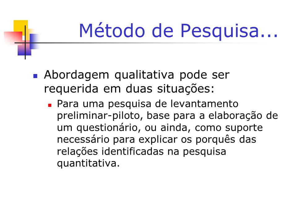 Método de Pesquisa... Abordagem qualitativa pode ser requerida em duas situações: Para uma pesquisa de levantamento preliminar-piloto, base para a ela