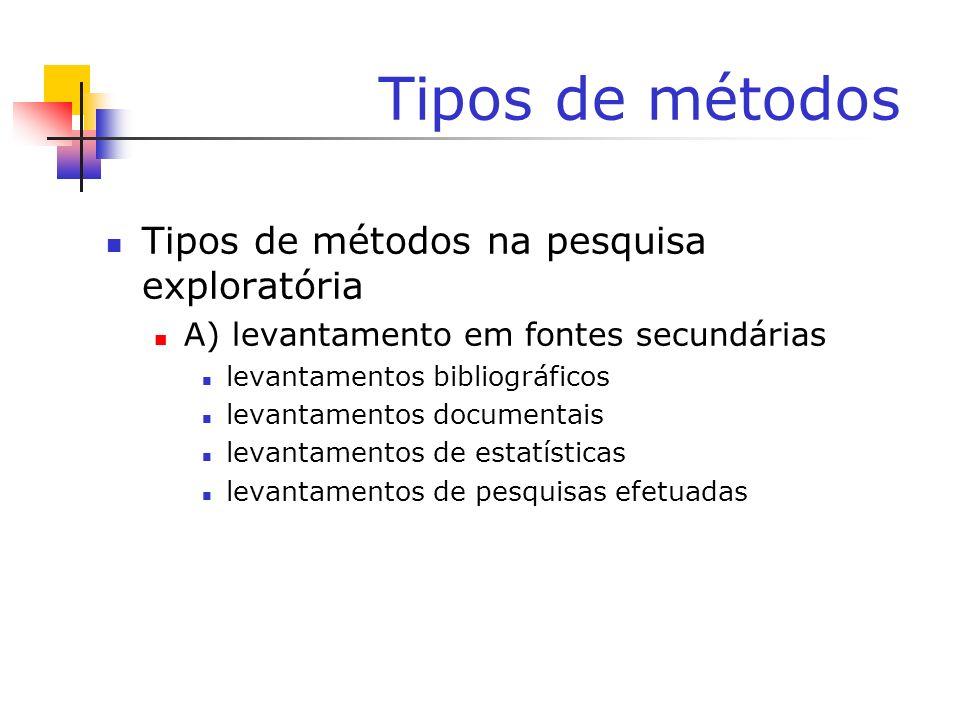 Tipos de métodos Tipos de métodos na pesquisa exploratória A) levantamento em fontes secundárias levantamentos bibliográficos levantamentos documentai