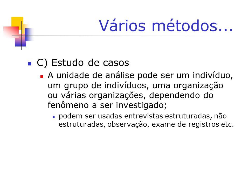 Vários métodos... C) Estudo de casos A unidade de análise pode ser um indivíduo, um grupo de indivíduos, uma organização ou várias organizações, depen