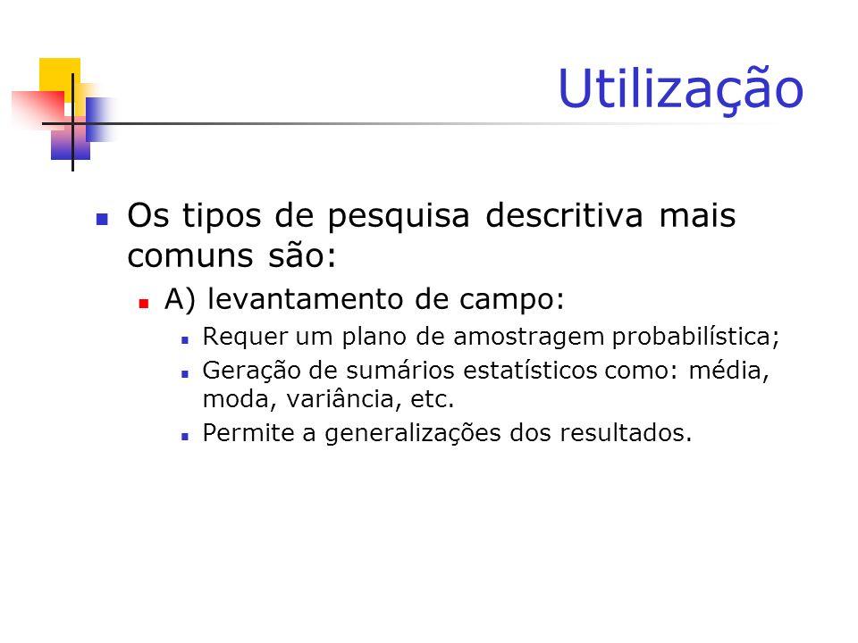 Utilização Os tipos de pesquisa descritiva mais comuns são: A) levantamento de campo: Requer um plano de amostragem probabilística; Geração de sumário
