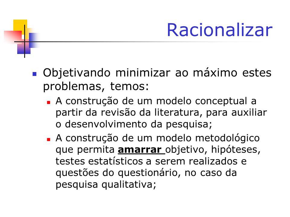 Racionalizar Objetivando minimizar ao máximo estes problemas, temos: A construção de um modelo conceptual a partir da revisão da literatura, para auxi
