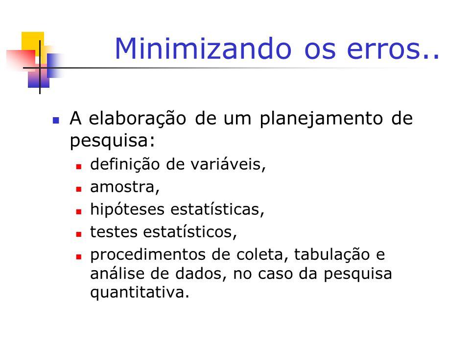 Minimizando os erros.. A elaboração de um planejamento de pesquisa: definição de variáveis, amostra, hipóteses estatísticas, testes estatísticos, proc