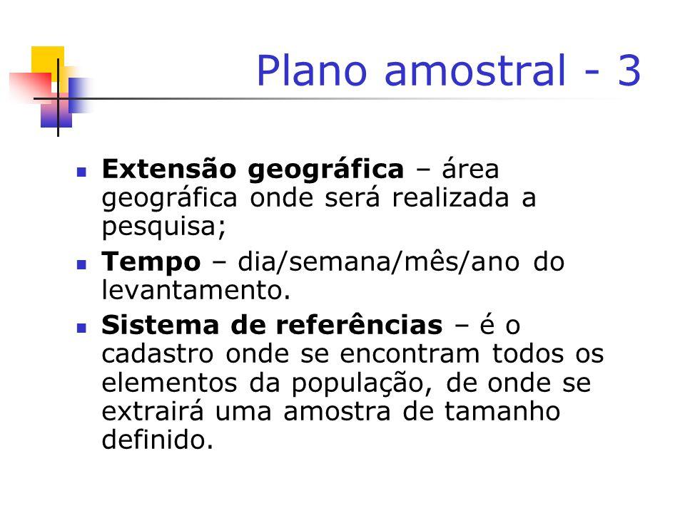 Plano amostral - 3 Extensão geográfica – área geográfica onde será realizada a pesquisa; Tempo – dia/semana/mês/ano do levantamento. Sistema de referê