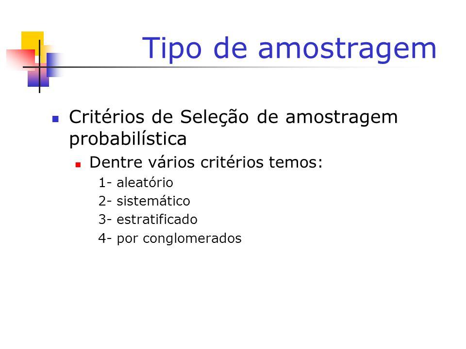 Tipo de amostragem Critérios de Seleção de amostragem probabilística Dentre vários critérios temos: 1- aleatório 2- sistemático 3- estratificado 4- po
