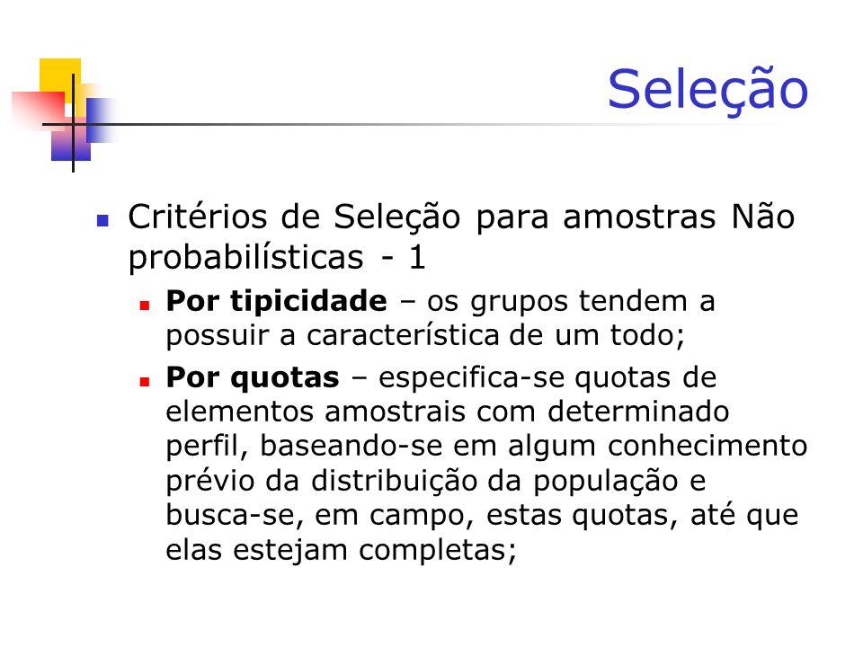 Seleção Critérios de Seleção para amostras Não probabilísticas - 1 Por tipicidade – os grupos tendem a possuir a característica de um todo; Por quotas