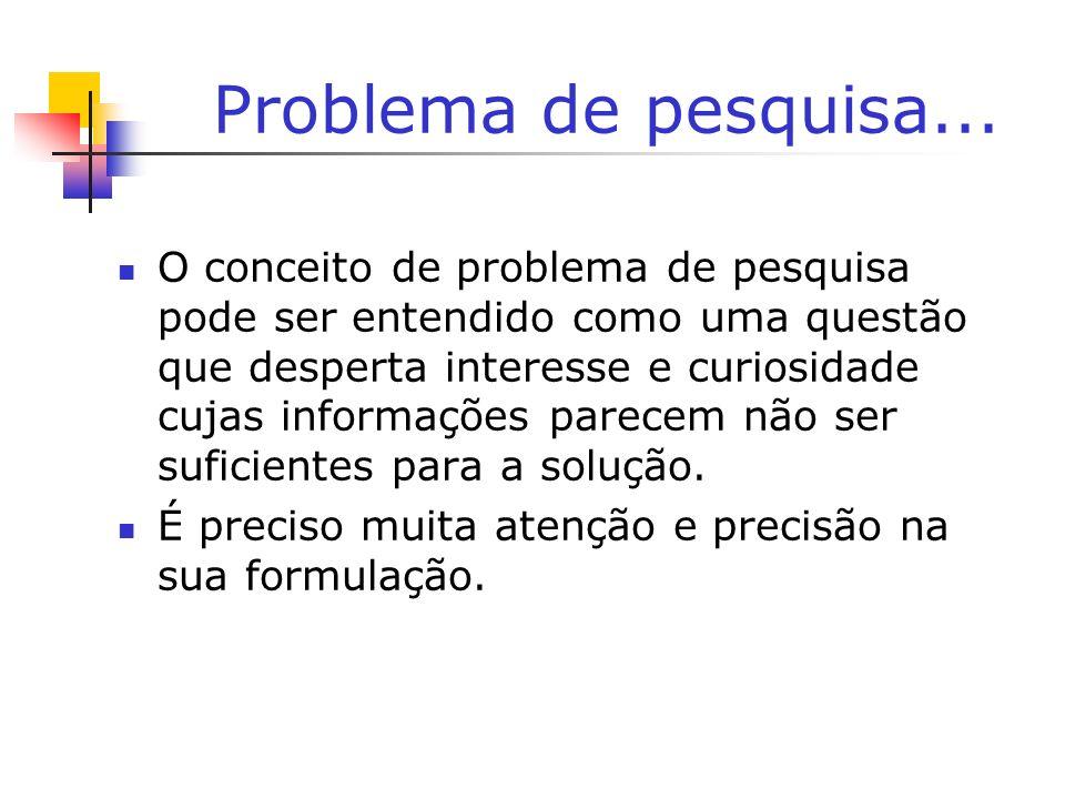 Problema de pesquisa... O conceito de problema de pesquisa pode ser entendido como uma questão que desperta interesse e curiosidade cujas informações