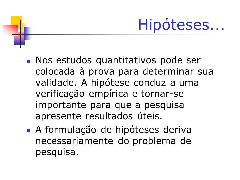 Hipóteses...