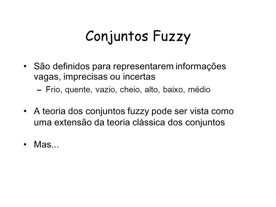 Conjuntos Fuzzy São definidos para representarem informações vagas, imprecisas ou incertas –Frio, quente, vazio, cheio, alto, baixo, médio A teoria dos conjuntos fuzzy pode ser vista como uma extensão da teoria clássica dos conjuntos Mas...