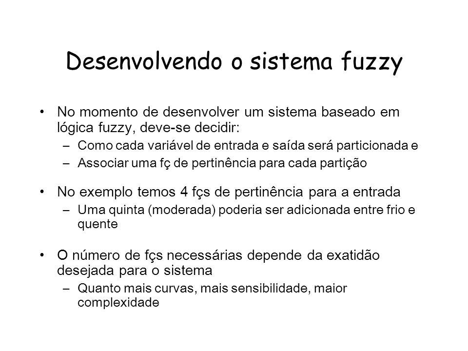Desenvolvendo o sistema fuzzy No momento de desenvolver um sistema baseado em lógica fuzzy, deve-se decidir: –Como cada variável de entrada e saída se