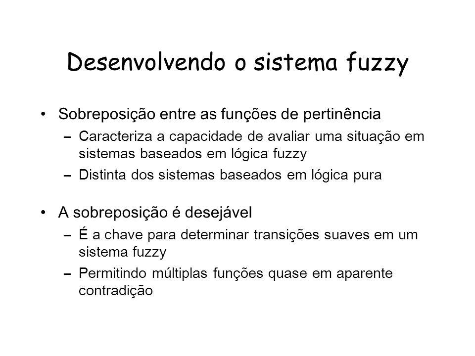 Desenvolvendo o sistema fuzzy Sobreposição entre as funções de pertinência –Caracteriza a capacidade de avaliar uma situação em sistemas baseados em l