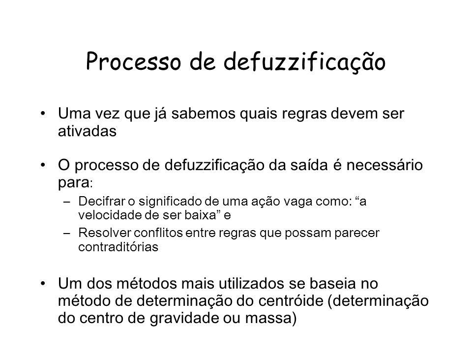 Processo de defuzzificação Uma vez que já sabemos quais regras devem ser ativadas O processo de defuzzificação da saída é necessário para : –Decifrar
