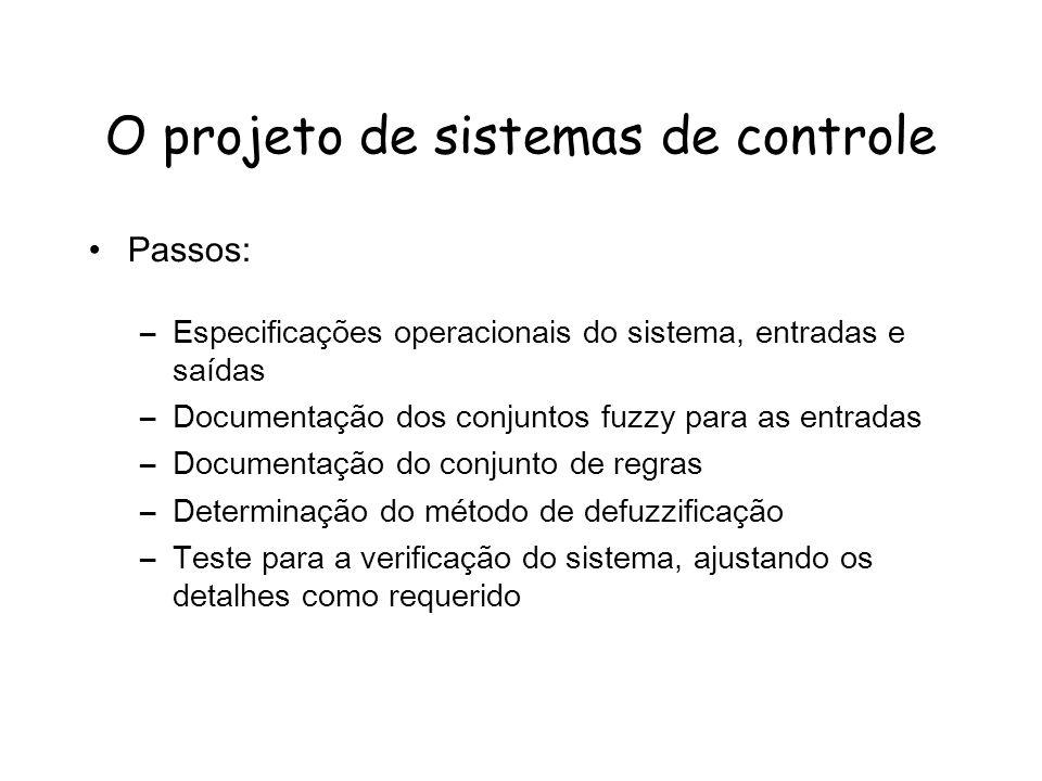 O projeto de sistemas de controle Passos: –Especificações operacionais do sistema, entradas e saídas –Documentação dos conjuntos fuzzy para as entradas –Documentação do conjunto de regras –Determinação do método de defuzzificação –Teste para a verificação do sistema, ajustando os detalhes como requerido
