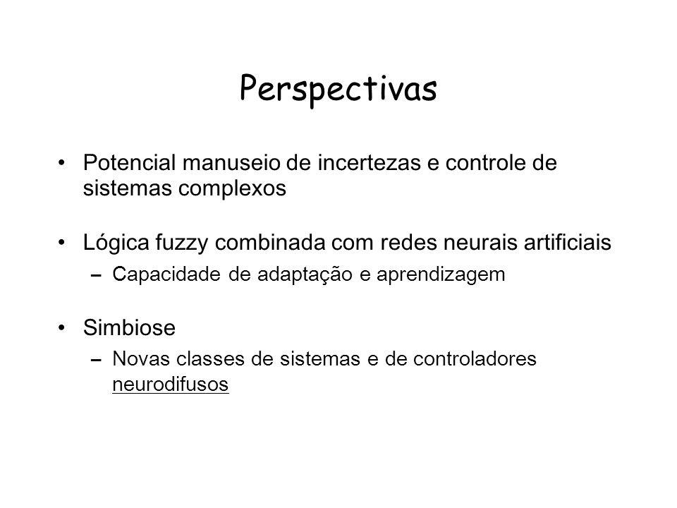 Perspectivas Potencial manuseio de incertezas e controle de sistemas complexos Lógica fuzzy combinada com redes neurais artificiais –Capacidade de adaptação e aprendizagem Simbiose –Novas classes de sistemas e de controladores neurodifusos
