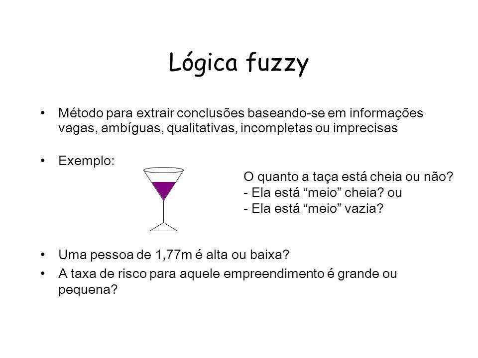Lógica fuzzy Método para extrair conclusões baseando-se em informações vagas, ambíguas, qualitativas, incompletas ou imprecisas Exemplo: Uma pessoa de 1,77m é alta ou baixa.