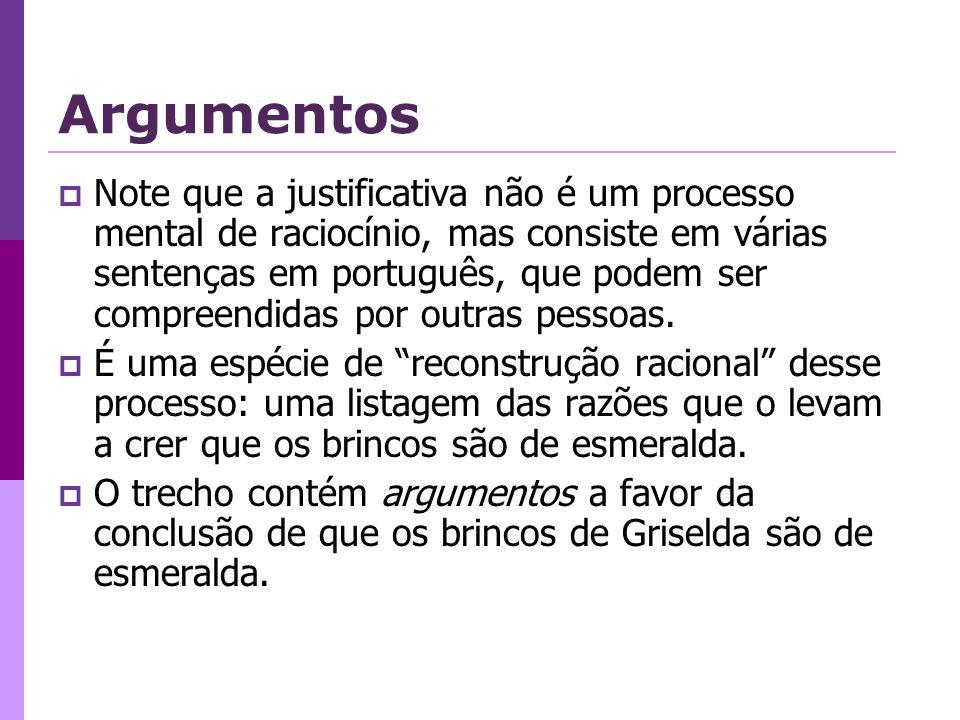 Argumentos Note que a justificativa não é um processo mental de raciocínio, mas consiste em várias sentenças em português, que podem ser compreendidas por outras pessoas.